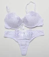 Комплект женского нижнего белья с нашивками Fajishi со стрингами белый 75-85В k5063