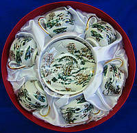 "Сервиз из тонкого фарфор (6SCS97) Yamasen 6 чашек + 6 блюдец ""Зимний пейзаж"" (110 МЛ)"