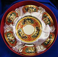 """Сервиз из тонкого фарфор (6CCS86-1) Yamasen 6 чашек + 6 блюдец """"Красный"""" (70 МЛ)"""
