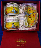 "Сервиз из тонкого фарфор (2GBC-A141-4SP) Yamasen 2 чашки + 2 блюдца + 2 ложки ""Желтый"""
