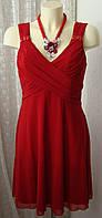 Платье женское элегантное красное нарядное летнее стрейч мини бренд Next р.46 5137
