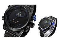 Мужские часы WEIDE Sport Watch кварцевые стальные черный корпус ремешок синяя кнопка