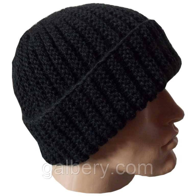 Вязание мужской шапка с отворотом