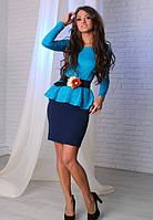 Нарядное платье с баской и поясом