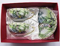 """Сервиз из тонкого фарфор (2SBS172) Yamasen 2 чашки + 2 блюдца """"Китаянка под ивой"""" (150 мл)"""
