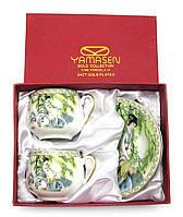 """Сервиз из тонкого фарфор (2SCS172) Yamasen 2 чашки + 2 блюдца """"Китаянка под ивой"""""""