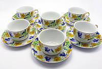 """Сервиз из тонкого фарфор (6H-GCA1088) Yamasen 6 чашек + 6 блюдец """"Желто синие цветы """" (150 мл)"""