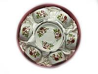 """Сервиз из тонкого фарфор (6H-GCA16) Yamasen 6 чашек + 6 блюдец """"Розы на белом фоне"""" (150 мл)"""