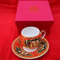 """Сервиз из тонкого фарфор (SCS86-1) Yamasen 1 чашка + 1 блюдце """"Красный"""" (110 мл)"""
