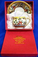 """Сервиз из тонкого фарфор (SCS86-5) Yamasen 1 чашка + 1 блюдце """"Зеленая ива"""" (110 мл)"""