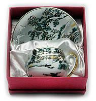 "Сервиз из тонкого фарфор (SCS97) Yamasen 1 чашка + 1 блюдце ""Зимний пейзаж"" (110 мл)"