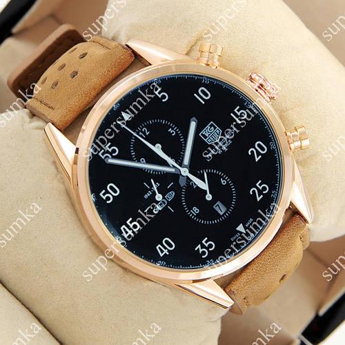 Стильные наручные часы TAG Heuer Carrera 1887 SpaceX Mechanic Gold/Black-White 2137