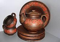 Глиняный чайный сервиз (разрисованный)