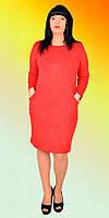 Модное коктельное платье из замши  с карманами по спинке декорировано молнией