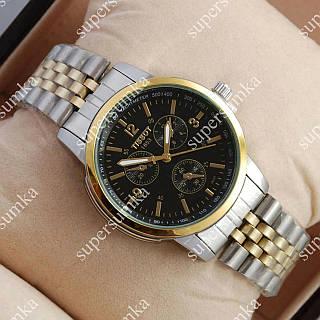 Яркие наручные часы Tissot Quartz 004 Silver-gold/Black 2216