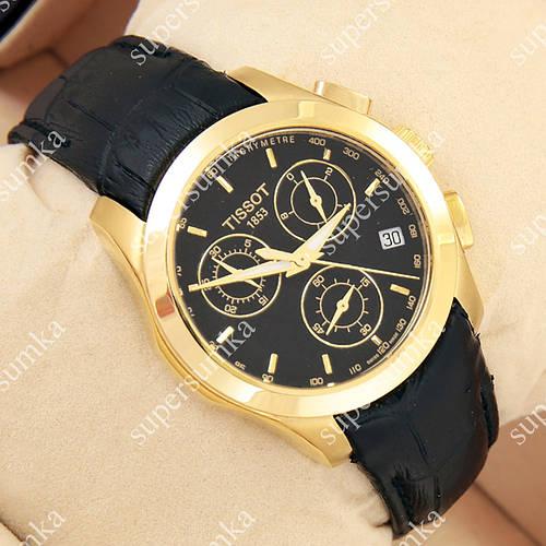Яркие наручные часы Tissot quartz Chronograph Black/Gold/Black 2227