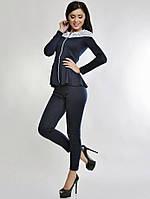 Женский костюм кружевной темно-синий с баской (лосины + кофта)