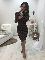Ангоровое облегающее женское платье по колено с геометрическим узором воротник под горло рукав длиный