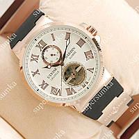 Яркие наручные часы Ulysse Nardin Maxi Marine Tourbillon Gold/White 2305