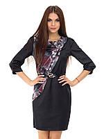 Роскошное платье в черном цвете из атласа декорировано сеткой на груди