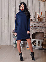 Дизайнерское платье из теплого стеганного трикотажа с оригинальным воротником стойка