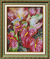 "P-076  Набор для вышивания бисером ""Цветок фламинго"""