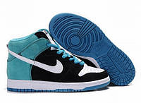 Кроссовки теплые Nike Dunk High 06M синие замшевые