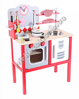 Детская игровая кухня EduFun ZA1411 из натурального дерева с посудой и принадлежностями.