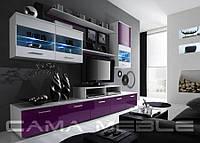 Мебельная стенка LOGO II белый / фиолетовый и белый глянец