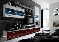 Мебельная стенка LOGO II белый / бордо и белый глянец