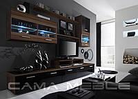 Мебельная стенка LOGO II слива / черный глянец и слива