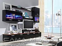 Мебельная стенка LOGO II черный и слива / черный глянец