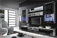 Мебельная стенка LUNA белый / черный глянец