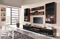 Мебельная стенка LUNA слива / черный глянец