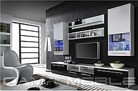 Мебельная стенка LUNA белый / белый, черный глянец