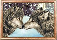 """Рисунок на ткани для вышивания бисером """"Пара волков"""""""