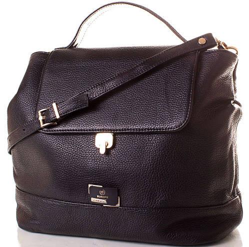 Вместительная кожаная женская сумка Europe Mob, EM0033-2, черная