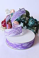 Лента декоративная с кружевом фиолетового цвета