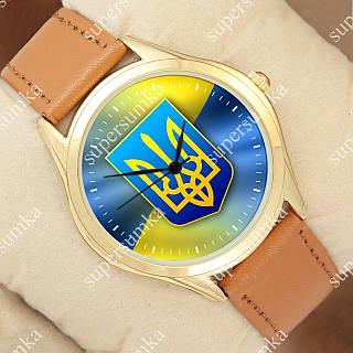 Яркие наручные часы Украина Герб и Флаг Gold/Brown 1053-0088