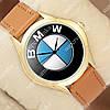 Стильные наручные часы Украина BMW Logo Gold/Brown 1053-0096
