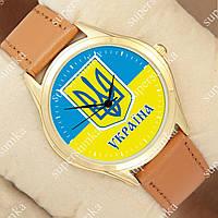 Патриотичные наручные часы Украина Gold/Brown 1053-0102