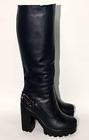 Женские модельные сапоги на высоком каблуке из натуральной кожи темно-синео цвета