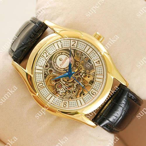 Стильные наручные часы Рекорд Skeleton Gold/White 3402