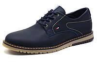 Туфли мужские кожаные спортивные Hilfiger Denim, синие, р. 40, фото 1