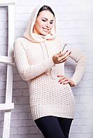 Вязаный свитер с капюшоном в расцветках