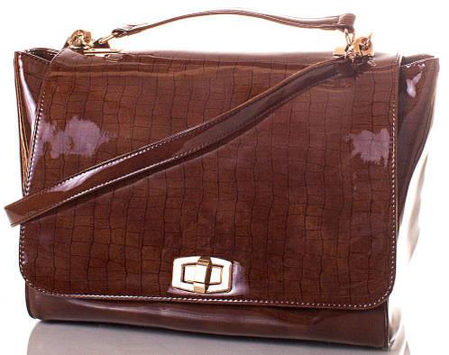 Комфортная женская сумка из экокожи Europe Mob, EM0040-4, коричневая