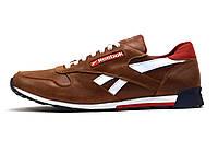 Кроссовки Reebok мужские, кожаные, коричневые, фото 1