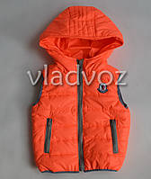 Детская жилетка 4-5 лет 110р оранжевая