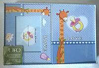 Детский фотоальбом UFO 10x15x48+рамка Baby синяя в подарочной упаковке
