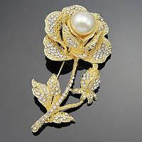 Брошь золотая роза с жемчугом